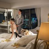 ★挙式当日はラグジュアリーなスイートルームで宿泊、結婚式を思い返しながらゆっくり過ごしてください。