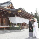 大神神社の奉納菊花展! 様々な菊が奉納されており、華やかな大神神社での挙式はさらに参拝客の目をひいておりました♪