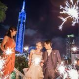 ライトアップされた美しいガーデン『アクアコート』、福岡タワーを望む絶好のロケーションで演出も叶う
