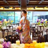 【本格和婚会場 桜島(2F)】会場内はもちろん、入口・ロビー・控室など全てが和にこだわった空間なので、本格和婚が叶う