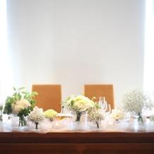 白と緑を基調にしたメインテーブル