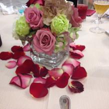 お色直し入場後にお花の横にバルーン。