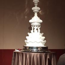 ケーキカットのケーキ。彫刻のようでした。