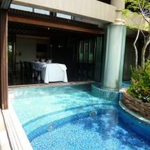 庭にあるプール。青色タイルで爽やか。