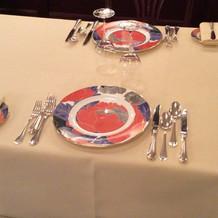 披露宴会場 テーブルセッティング