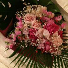 サプライズの花束。