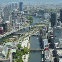 披露宴会場から見える大阪城