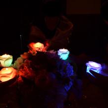 七色に光るキャンドルリレーは好評でした