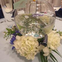 テーブル装花も素敵に仕上げてもらいました