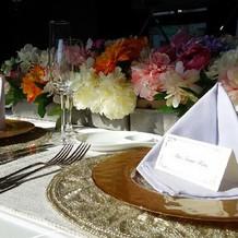 テーブルコーディネートも上品でゴージャス