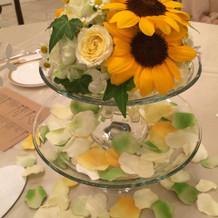 ゲストテーブルの装花です