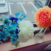 持ち帰ったお花を家に飾りました。