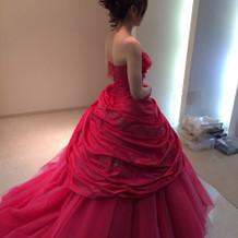 試着したカラードレスです。