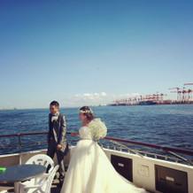 船上にて。