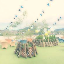 椎茸の原木を持ち込んで椎茸狩り演出