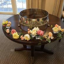 ケーキテーブルの装花