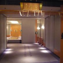 神前式会場まえの廊下