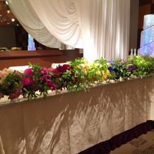 イメージに合わせた花で演出。