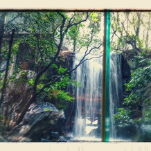 奥にある滝です。癒されます。