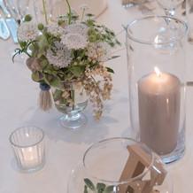 テーブル装花にテーブルナンバー