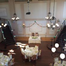 両サイドに階段がある披露宴会場。