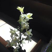 バージンロード横の花