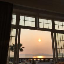 夕日がちょうど見える位置にあり綺麗な眺め