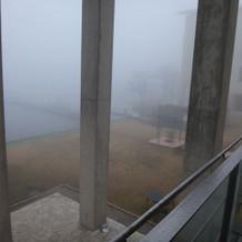 濃い霧で芦ノ湖はほとんど見えず…
