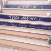 階段の黒板です!
