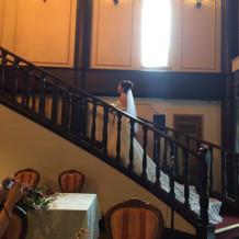 階段で撮影