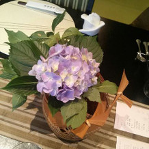 紫陽花と竹細工