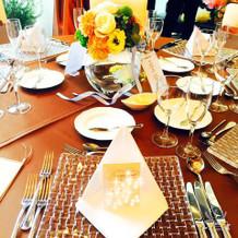 ゲストテーブル。席次表の裏にはメッセージ