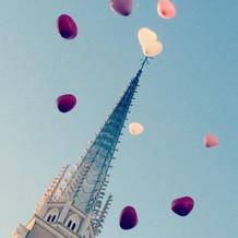 青空に風船がとても映えていました!