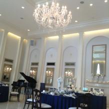 天井高く、広々とした披露宴会場。