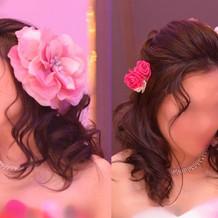 洋装髪飾り左:ドレス付随小物/右:生花