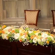 メインテーブルのテーブルコーディネート
