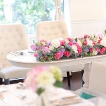 新郎新婦の座るメインテーブルです。
