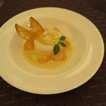 デザート 柑橘類のジュレ、フロマージュ