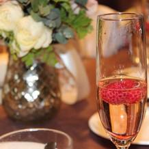 シャンパンで乾杯。