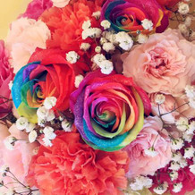 式場の方が用意してくれたお礼の花束