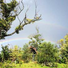なんとおひらき後、チャペルに奇跡の虹!