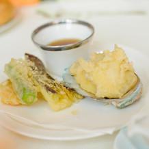 ロブスターと季節の野菜の天ぷら