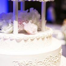 ケーキ模様とお花のアップ。