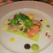 魚介のミキュイと香味野菜生ハム添え