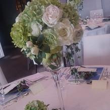 綺麗なお花を飾ったゲストテーブル