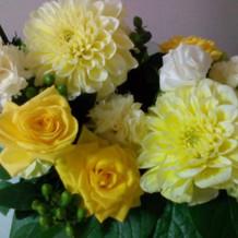 披露宴会場の装花。持ち帰りました。