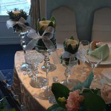 装花、キャンドル