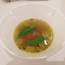 スープ。出来たてをサーブしてもらえました