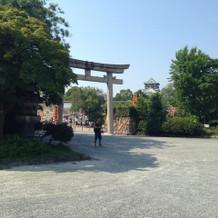 大阪城をバックに集合写真が撮れる