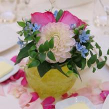 実際のゲストテーブルのお花